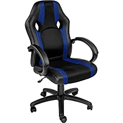 tectake Chaise de Bureau Fauteuil siège Racing Sport Tissu - diverses Couleurs au Choix - (Bleu | no. 402160)