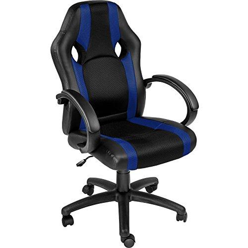 TecTake Bürostuhl Racing Chefsessel Sportsitz mit gepolsterten Armlehnen - Diverse Farben - (blau | nr. 402160)