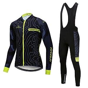JOGVELO Maillot Ciclismo, Ropa Ciclismo Conjunto Hombre Jersey + Culotes Ciclismo Invierno Vellón Térmico Reflectante, M