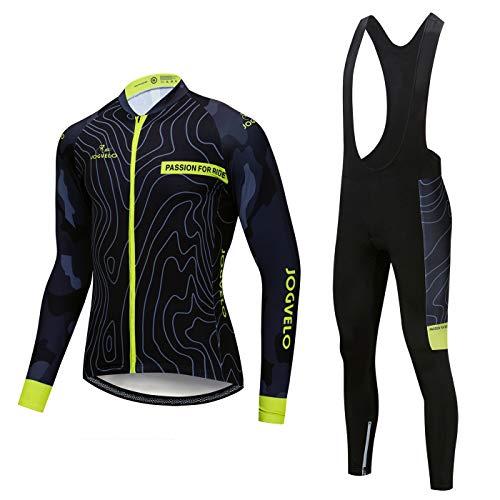 JOGVELO Fahrradbekleidung Set, Radfahren Kleidung Set Thermische Fleece für Herren MTB Fahrrad Bekleidung, L