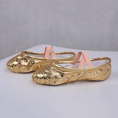 Frauen Tanzschuhe Leder Leder Latein / Modern Sneakers Chunky Ferse Praxis Gold