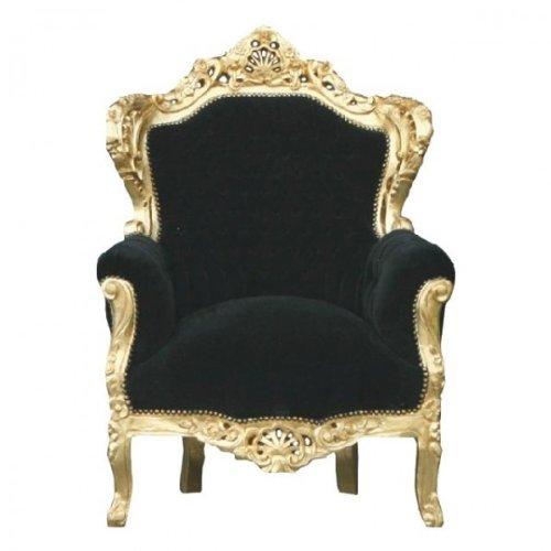 Casa Padrino Barock Sessel 'King' Schwarz/Gold (Stuhl König)
