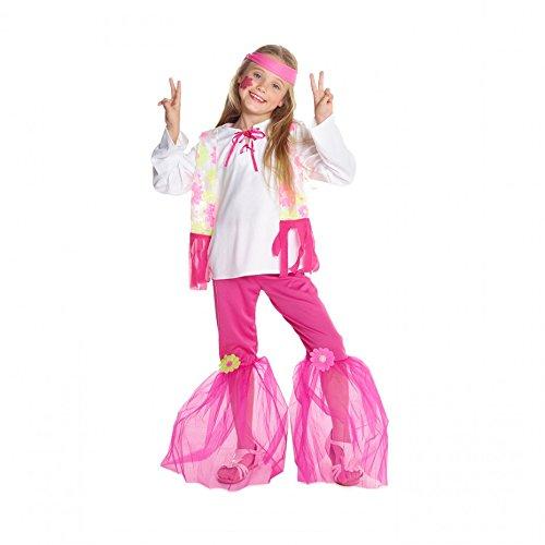 70er Mädchen pink flower hippie Kostüm klein mittel groß (1970's Kinder Halloween Kostüme)