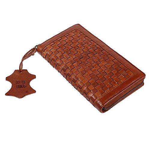 Christian Wippermann große Damengeldbörse aus Leder mit Reißverschluss und geflochten in den Farben Schwarz, Braun oder Cognac Cognac (Leder-geldbörse Geflochtenes)