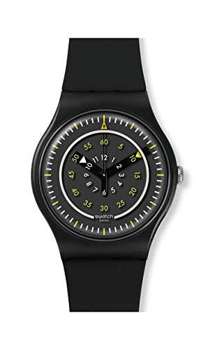 Swatch Herren Analog Quarz Uhr mit Silikon Armband SUOB157