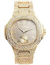 bling-ed Out – Reloj para hombre de metal rectangular caso 8475 ...