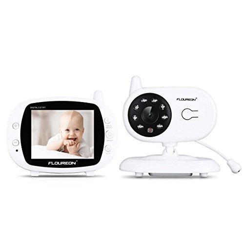 FLOUREON Babyphone Wireless mit Kamera, Video Baby Monitor Kamera 3.5 Zoll LCD Display Gegensprechfunktion Nachtsicht Temperatursensor 4 Schlaflieder, Weiß