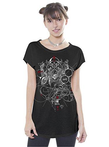 Street Habit Camiseta Estampada Ganesh, Dios con Cabeza de Elefante - Ropa Alternativa para Mujer, Negro, Talla S