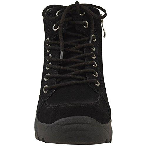Femmes Semelle Anti-dérapante Bottine Lacet Baskets Doublure Chaud Fourrure Chaussures Pointure Noir Daim Synthétique