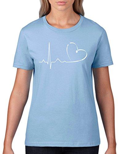 Comedy Shirts - Pulsschlag Herz - Damen T-Shirt - Hellblau/Weiss Gr. S