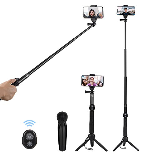 """Perche Selfie, Alfort 3 en 1 Bâton de Selfie Bluetooth Trépied Monopode Selfie Stick Télescopique avec Télécommande Matériau Alliage d'Aluminium pour iPhone X, Samsung, Huawei, Sony,jusqu'à 6.0"""" -Noir"""