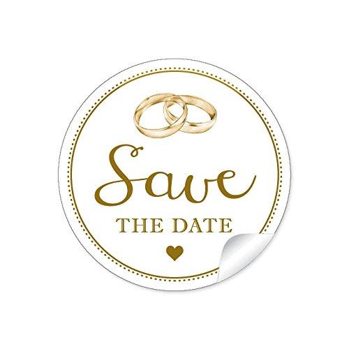 """'24etiquetas Sticker:""""Save the Date"""" Bella en""""Vintage Retro en blanco con LIEBEVOLL Ilustradas anillos y corazón para bodas A4arco) Papel decorativo para: 4cm, redondo, mate"""