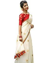 Peachmode Women's White Embroidered Chanderi Silk Saree