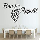 Palabra francesa Bon Appetit Etiqueta de la pared Uva Cotizaciones Wallpaper Pvc Etiqueta de la pared Cocina Comedor Extraíble Arte de la pared 3d Decoración para el hogar59 cm X 43 cm