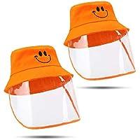 Sombrero protector anti-saliva para niños Cubierta antivaho Máscara facial completa Escudo transparente Gorra de pescador A prueba de polvo e impermeable para actividades al aire libre-3-8 años ,2pcs