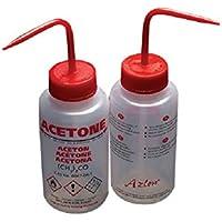 AZLON Plástico, Botella de Lavado Amplia Boca, Acetona, LDPE, Ventilación, 250 ml (Pack de 5)