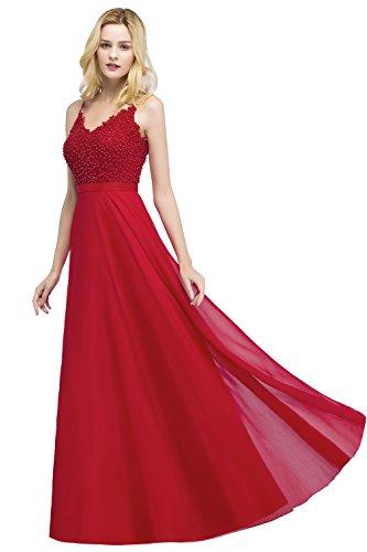 Misshow Abendkleider Lang Elegant Für Hochzeit mit Perle Abiballkleider Lang Maxikleider