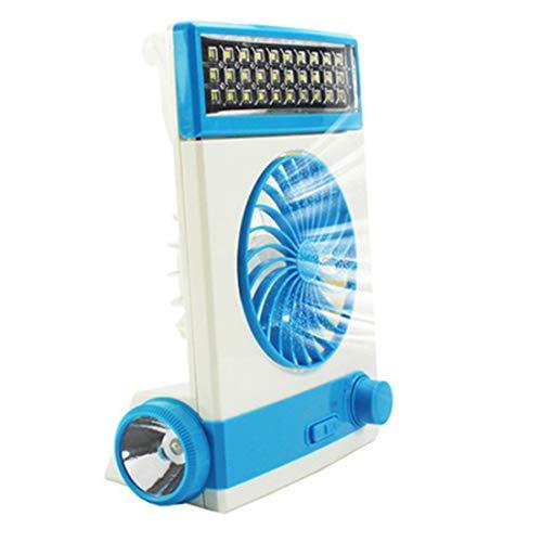 Xiaochou@sl Kunststoff Mini Fan Multifunktions LED tischlampe Solar Lade Outdoor Camping Taschenlampe Griff Design wohnheim Zimmer blau 15 * 21,5 * 7 cm abkühlen