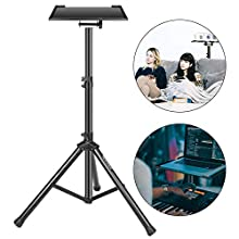 """Neewer® Deluxe 37.4""""-58.7""""/92cm-130cm Adjustable and Collapsible Heavy-Duty Laptop Stand with Solid Tripod Base and Non-slip Rubber Caps, Black"""