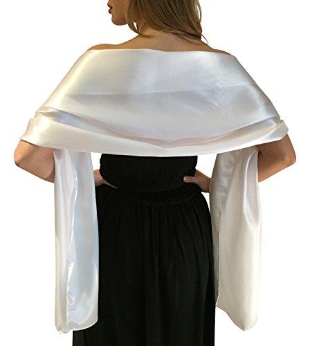 Silky satin stola dell'involucro dello scialle sciarpa pashmina per la sposa damigelle in avorio bianco nero blu argento oro rosa grigio verde (s-m, bianco)