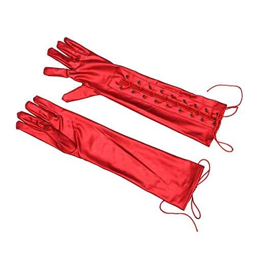 Sky-Grow Handschuhe Lacklederhandschuhe Sexy Queen Five Fingers Glänzende Clubhandschuhe (Rot)
