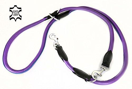 Lila Nappa-leder (Monkimau Leder Hundeleine verstellbare Profi Nappa Leine für große Hunde rund lila Führerleine Doppelleine Koppelleine)