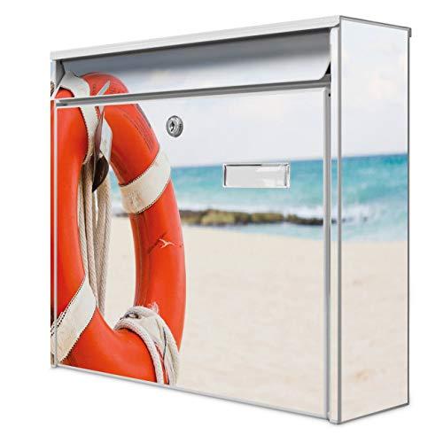 Burg Wächter Design Briefkasten | Postkasten 36 x 32 x 10cm groß | Stahl weiß verzinkt mit Namensschild | großer A4 Einwurf, 2 Schlüssel | Motiv Roter Rettungsring | mit Edelstahl Ständer