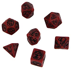 Q WORKSHOP Dragon Red & Black RPG Ornamented Dice Set 7 Polyhedral Pieces