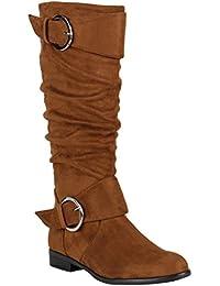 Klassische Damen Stiefel | Leder-Optik Schuhe | Boots Blockabsatz | Schnallen Ösen Schnürungen | Modische Langschaftfstiefel | Flandell®