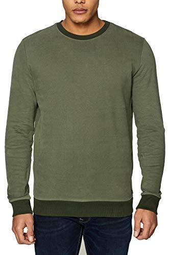 edc by ESPRIT Herren 029CC2J001 Sweatshirt, Grün (Khaki Green 350), Small (Herstellergröße: S)