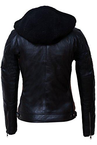 Urban Leather Damen Motorradjacke mit Protektoren, Schwarz, L - 2