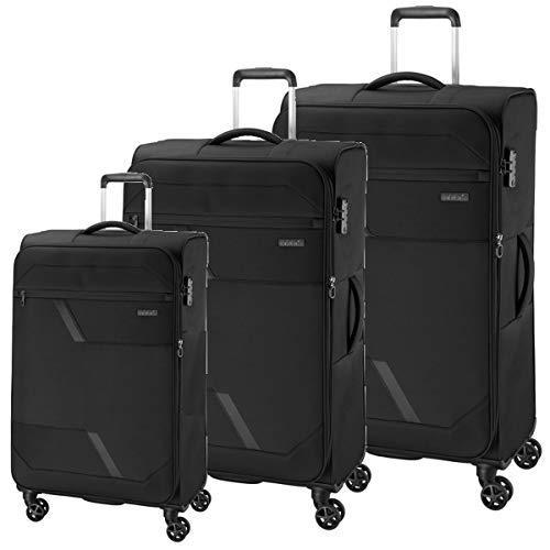 Koffer 3er Set Schwarz Stoff Reise Trolley 4 Rollen Erweiterbar Leicht Bowatex