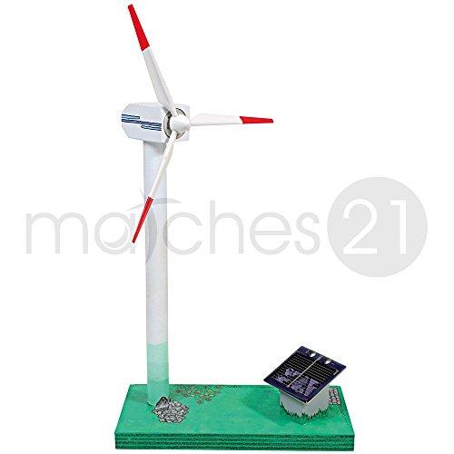 matches21 Windgenerator mit Solarantrieb Solar Bausatz Werkset für Kinder und Jugendliche