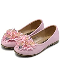 BULUTO Girl Shoes Flats Spring Fall Comfort Flower Girl Shoes Light Up Shoes Leatherette Wedding Dress Casual Party & Evening Flat HeelRhinestone Crystal , beige , us10.5 / eu27 / uk9.5 little kids