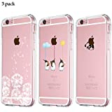 Yalixin [3 Stück] iPhone 6 Plus Hülle, iPhone 6S Plus Handyhülle, Ultradünn Transparent TPU Phone Case für Apple iPhone 6 Plus/iPhone 6S Plus - Löwenzahn, Pinguin, Panda