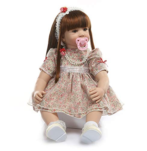 Binxing Toys Reborn Toddler Doll, 24 inches 60cm Realistic Gray Girl, Brown Wig Hair and Colorful Dress, Xmas Gift for Girl (2)