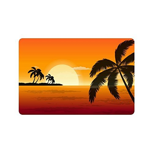 ghkfgkfgk Tropical Paradise Beach with Palm Trees Custom Doormat Entrance Mat Floor Mat Rug Indoor/Outdoor/Front Door/Bathroom Mats Rubber Non Slip Size 23.6 x 15.7 inches -