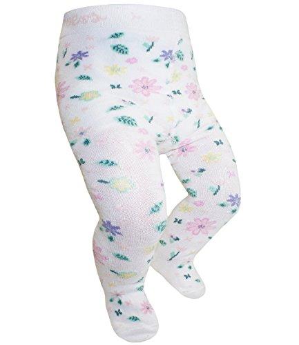 Ewers Babystrumpfhose Mädchenstrumpfhose Strumpfhose Markenstrumpfhose mit Blumenmuster für Babys (EW-905003-S17-BM0-1902-80/86) in Latte, Größe 80/86 inkl. EveryKid-Fashionguide Kita, Krippe Blatt