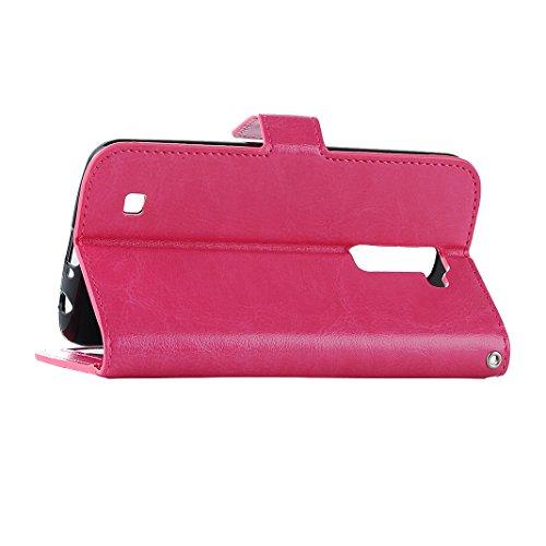 LG K10 Cover Case Pelle HuaForCity® Portafogli Custodia in Pelle PU Copertina con Slot per schede Magnetica Flip Chiusura Stile del Libro Supporto Funzione Bumper Caso for iphone LG K10 Rose red