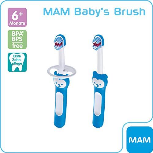 MAM Baby's Brush im 2er-Set, Baby Zahnbürste mit kurzem Griff zum einfachen Halten, Kinderzahnbürste zur sanften Zahnreinigung, ab 6+ Monate, blau