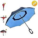 AIGUMI Innovative Winddichtes Regenschirm umge Folding Double Layer Sunblock Umwelt Bumbershoot(Blau / Schwarz )