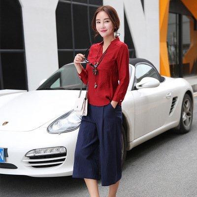 KTK/ Baumwolle und Leinen Mode Anzüge Frauen. Frühjahr und Sommer-Kleider-leicht ausgestelltes Bein Hosen zwei Stück set , 3 , xxl (2 Leinen-anzug Stück)