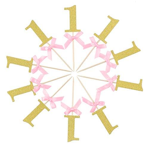 zernde Schleife zum 1. Geburtstag, für Babyparty, Geburtstag, Glitzer-Party-Dekoration. Golden + Pink ()