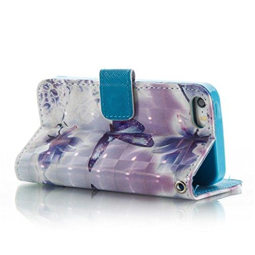 Apple iPhone SE 5 5S Hülle, SATURCASE Schönes 3D Muster PU Lederhülle Ledertasche Magnetverschluss Flip Cover Brieftasche Case Handy Tasche Schutzhülle Handyhülle Hülle mit Standfunktion Kartenfächer  Muster-6