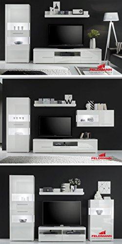 Wohnwand 440907 Anbauwand weiß / weiß Hochglanz 4-teilig - 3