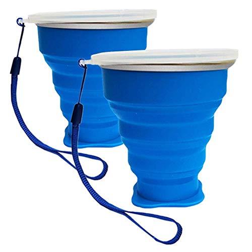 Tasse Camping Pliable Mug Rétractable Portable en Silicone Avec Couvercle pour Voyage Randonnée Plage (2 Pack Bleu)