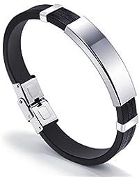 8304f9fcd3a3 HFJ YIE H Pulsera de deporte de silicona amantes de los hombres de acero de  titanio pulseras accesorios