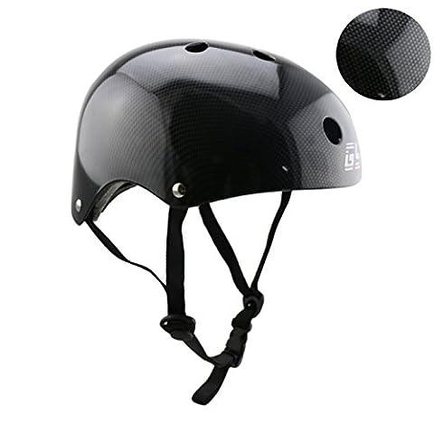 GY ABS Material Schale Kinder Erwachsene Skateboarder Helm ,Einzigartige Carbonfolie (Black, M)