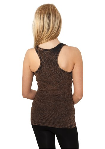Urban Classics Damen Sport Tank Top Ladies Crinkle Camo Tanktop Braun (Brown 00075)