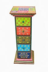 Wooden Side Corner Drawer 5 Pink City Handicraft For Home Decor Gift Item - 10X10X27 Inch